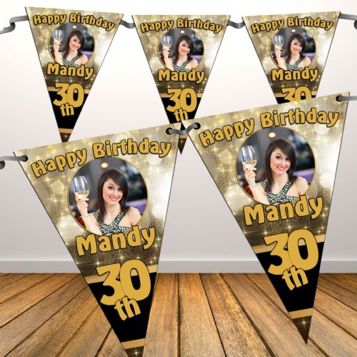 Personalised Happy Birthday Black & Gold Sparkle Flag PHOTO Bunting Banner - N21